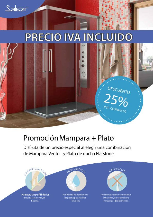 Mamparas De Bano Salgar.Promocion Descuento 25 Mampara Vento Frontal Plato De Ducha