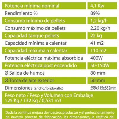 ESTUFAS DE PELLETS Y HUESO – SOFÍA 12 KW