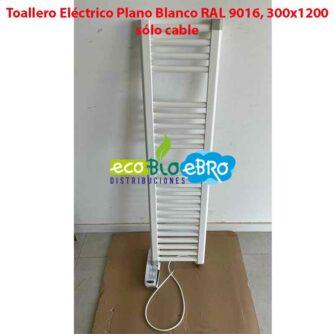 Toallero-Eléctrico-Plano-Blanco-RAL-9016,-300x1200-solo-cable ecobioebro