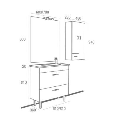 Mueble de Baño Almagro 600 Blanco