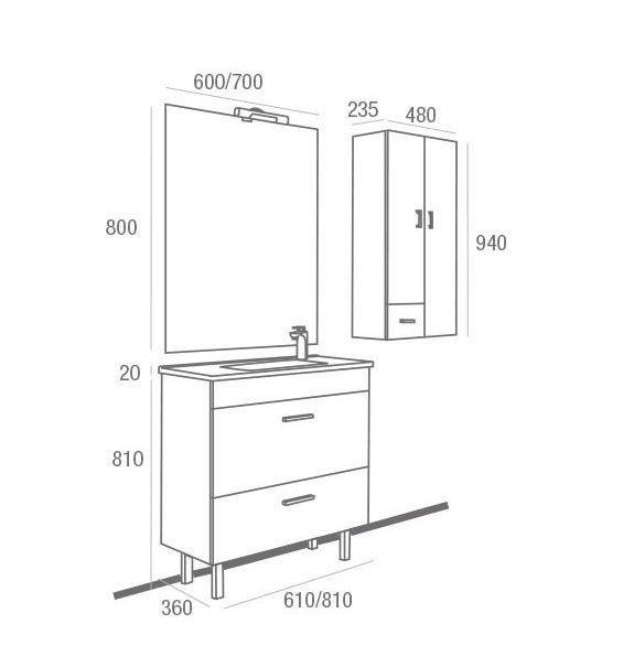 Mueble de ba o almagro 600 blanco ecobioebro for Muebles de bano a medida