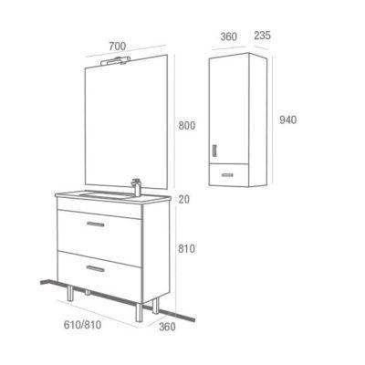 Mueble de Baño Almagro 600 Wenge