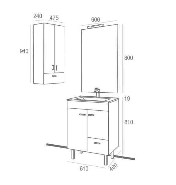 Medidas De Un Baño Normal:Mueble de Baño Betanzos 800 Wenge – ECOBIOEBRO