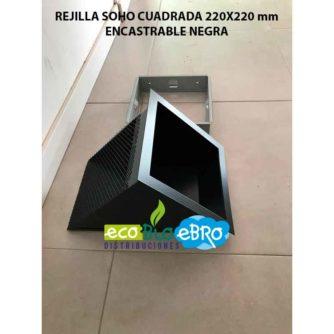 REJILLA SOHO CUADRADA 220X220 mm encastrable negra ecobioebro