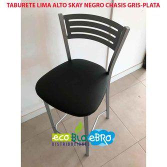 TABURETE LIMA ALTO SKAY NEGRO CHASIS GRIS-PLATA ECOBIOEBRO