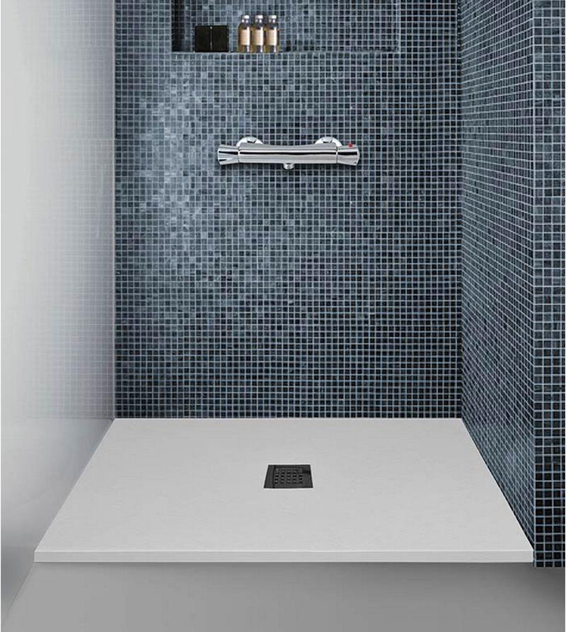 Plato de ducha pizarra mitola blanco serie liwa ecobioebro for Plato de ducha flexible