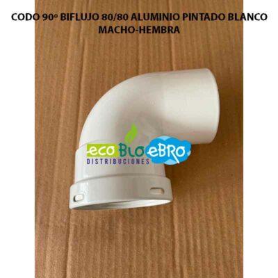 CODO-90º-BIFLUJO-8080-ALUMINIO-PINTADO-BLANCO MACHO-HEMBRA ECOBIOEBRO