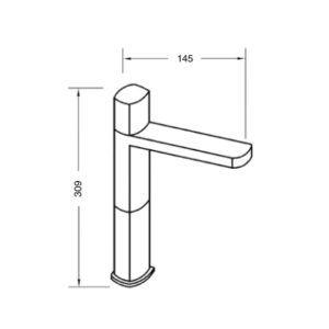 Medidas monomando lavabo alto Oval