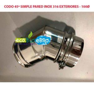 CODO 45º SIMPLE PARED INOX 316 EXTERIORES - 100Ø ecobioebro