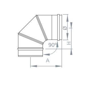 CODO 90º SIMPLE PARED INOX 316 EXTERIORES