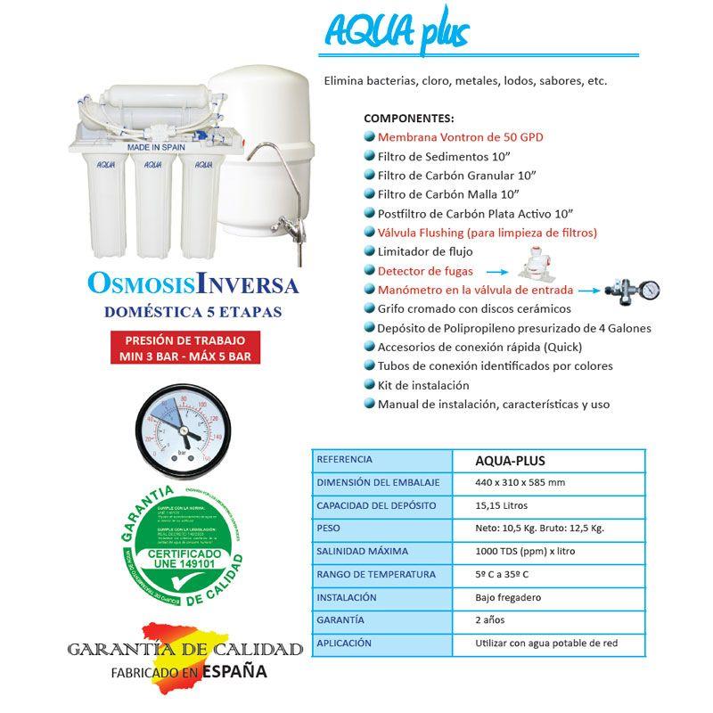 Equipo osmosis inversa 5 etapas aqua plus ecobioebro for Equipo de osmosis