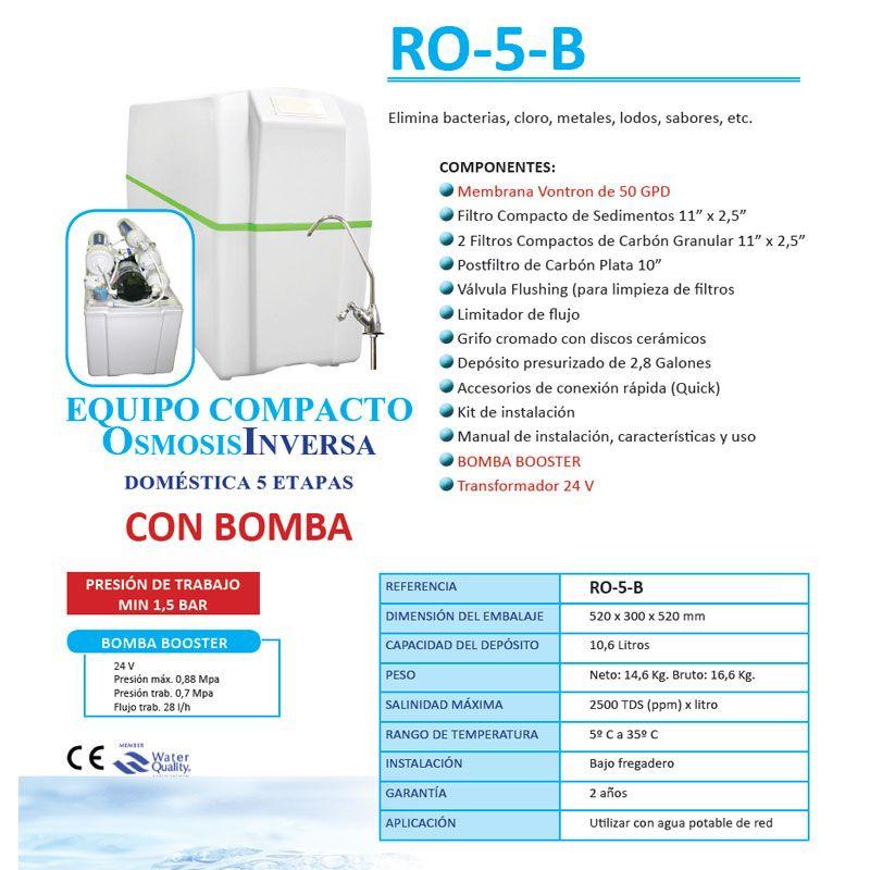 Equipo osmosis inversa 5 etapas compacto ro 5b bomba for Equipo de osmosis