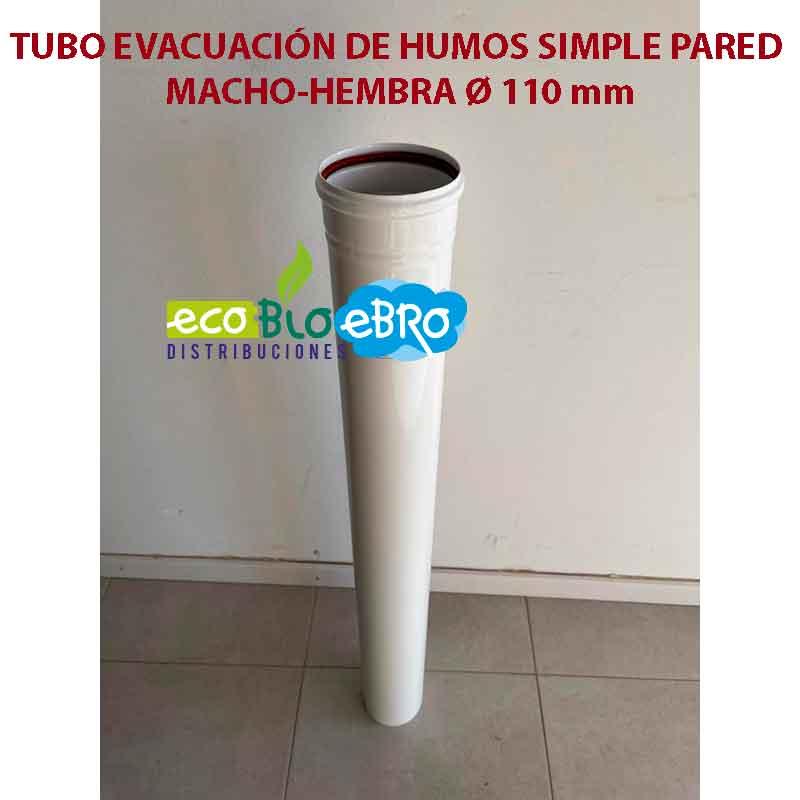 TUBO-EVACUACIÓN-DE-HUMOS-SIMPLE-PARED-MACHO-HEMBRA-Ø-110 mm ecobioebro