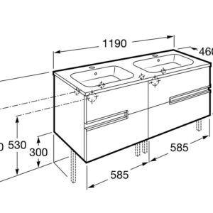 Unik Victoria-N (mueble base y lavabo doble) 1200 MM WENGE TX