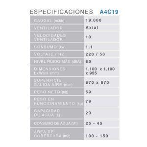CLIMATIZADOR EVAPORATIVO SERIE AIR4COOL A4C19