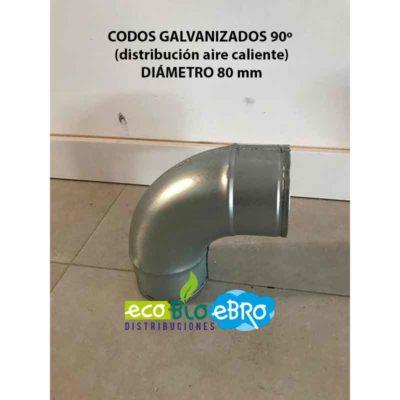CODOS GALVANIZADOS 90º (distribución aire caliente) diametro 80 mm ecobioebro