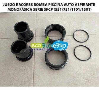 JUEGO RACORES BOMBA PISCINA AUTO ASPIRANTE MONOFÁSICA SERIE-SFCP-(55175111011501) ecobioebro