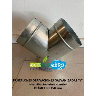 PANTALONES-DERIVACIONES-GALVANIZADAS-'Y'-(distribución-aire-caliente)-diametro-150-mm ecobioebro