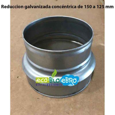 Reduccion galvanizada concentrica de 150 a 125 mm ecobioebro