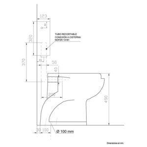 Kit inodoro ergonómico desagüe a suelo, cisterna y tapa