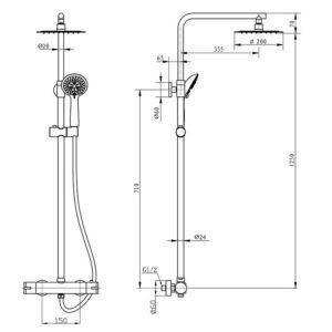 Dimensiones-L122344-Columna-termostatica-Round-ecobioebro