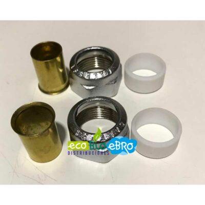 Racor mecánico, para tubo en cobre con junta de PTFE 438018 (CALEFFI) Ø 18 mm