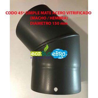CODO 45º SIMPLE MATE ACERO VITRIFICADO (MACHO : HEMBRA) diametro 150 mm ecobioebro
