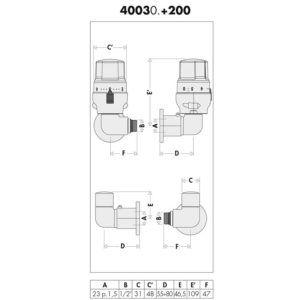 Válvulas high-style en doble escuadra para radiadores toalleros – 4003 (Caleffi)