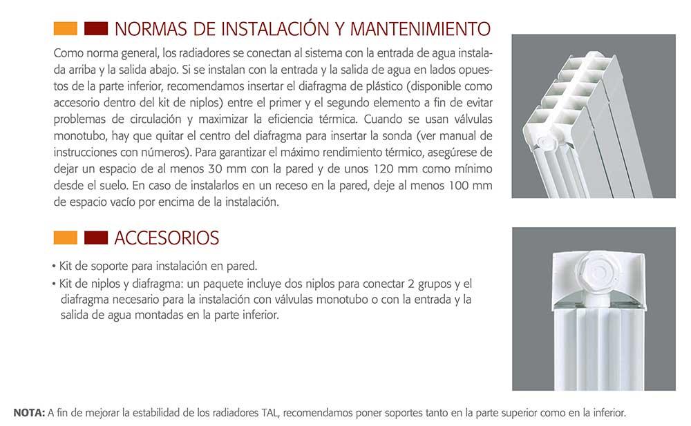 normas-instalacion-radiador-ferroli-modelo-TAL-ecobioebro