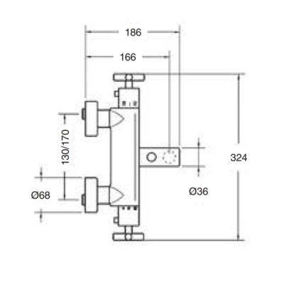 Mezclador termostático baño Jalón con equipo ducha