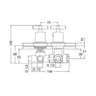 Esquema-Mezclador-termostático-ducha-Jalón-de-empotrar-ecobioebro