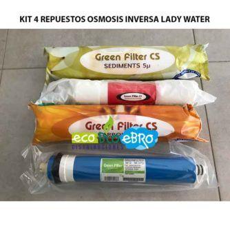 KIT 4 REPUESTOS OSMOSIS INVERSA LADY WATER ecobioebro