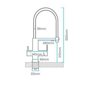 Dimensiones-Grifo-de-cocina-ALTEA-de-3-vías-ecobioebro