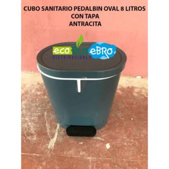CUBO SANITARIO PEDALBIN OVAL 8 LITROS CON TAPA ANTRACITA ECOBIOEBRO