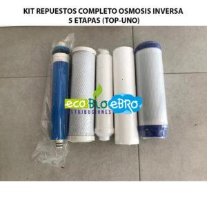 AMBIENTE KIT REPUESTOS COMPLETO OSMOSIS INVERSA 5 ETAPAS (TOP-UNO) ecobioebro