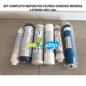 KIT COMPLETO REPUESTOS FILTROS OSMOSIS INVERSA 6 ETAPAS (RO-106) ecobioebro
