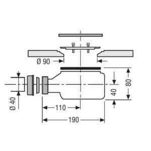 VÁLVULA DESAGUE SALIDA HORIZONTAL VIEGA 90 Ø TEMPOPLEX (HIDROBOX)