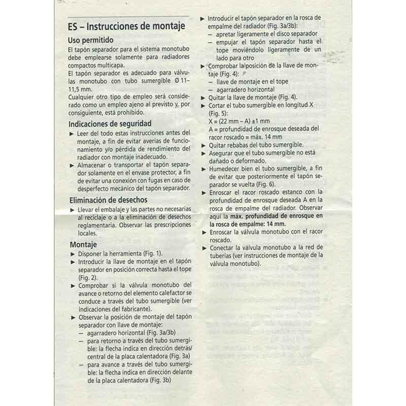 INTRUCCIONES DE MONTAJE DIAFRAGMA CONVERTIDOR A SISTEMA MONOTUBO PARA RADIADORES DE PANEL DE ACERO ecobioebro