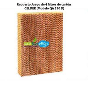 Repuesto Juego de 4 filtros de cartón CELDEK (Modelo QA 230 D) ecobioebro