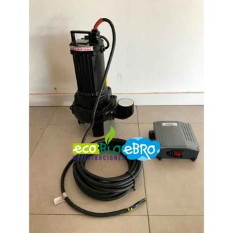 """Vista Bomba Vortex 1,2kW. Salida 2"""" con boya (GB-CV12-DMs-A) aguas residuales ecobioebro"""