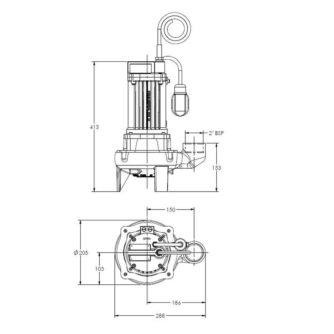"""dimensiones Bomba Vortex 1,2kW. Salida 2"""" con boya (GB-CV12-DMs-A) aguas residuales ecobioebro"""