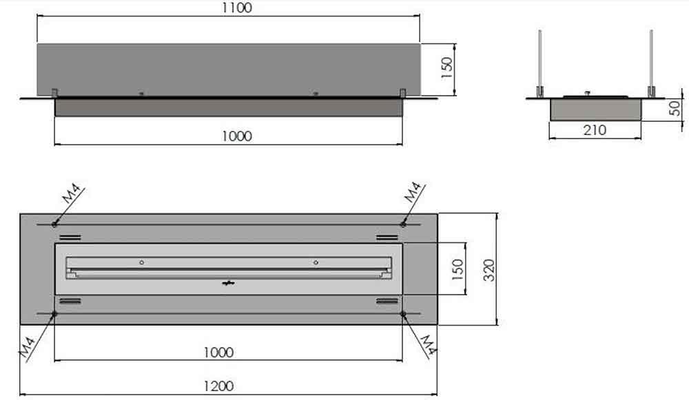 DIMENSIONES QUEMADOR BIOETANOL INFIRE WKLAD 1200 INOX (con cristal) ecobioebro