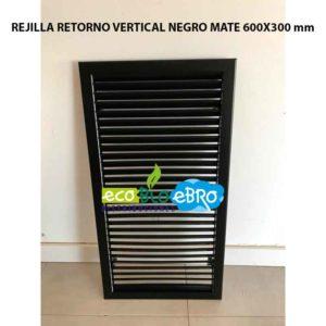 REJILLA RETORNO VERTICAL NEGRO MATE 600X300 mm ecobioebro