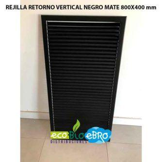 REJILLA RETORNO VERTICAL NEGRO MATE 800X400 mm ecobioebro
