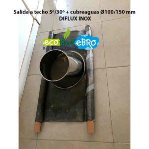 Salida a techo 5º:30º + cubreaguas Ø100:150 mm DIFLUX INOX ECOBIOEBRO