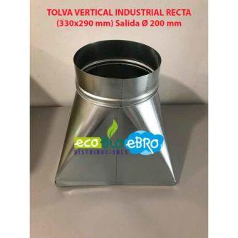 TOLVA VERTICAL INDUSTRIAL RECTA (330x290 mm) Salida Ø 200 mm ecobioebro