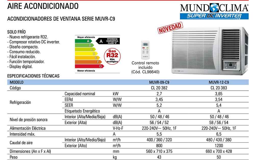 ficha-tecnica-ACONDICIONADOR DE VENTANA SERIE MUVR-C9 (GAS R-32) ecobioebro