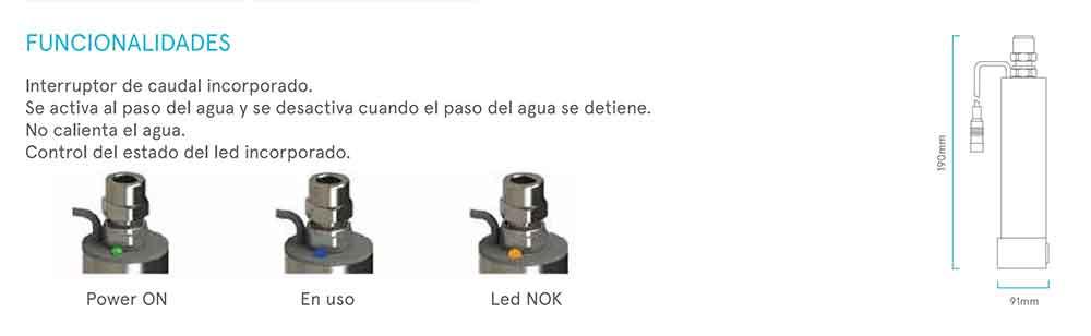 funcionalidades EQUIPO ULTRAVIOLETA PARA GRIFOS DE OSMOSIS INVERSA (UV LED) ecobioebro