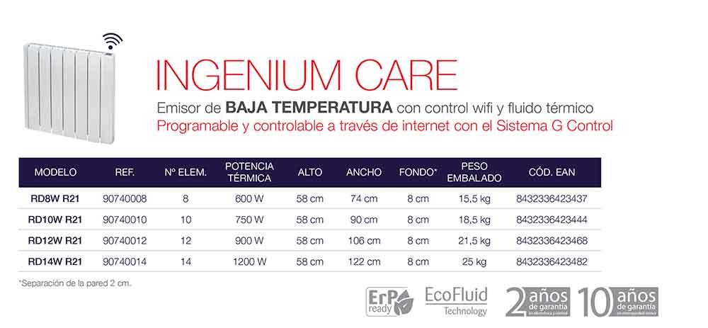 EMISOR CON FLUIDO TÉRMICO INGENIUM CARE (WIFI) Baja Temperatura ecobioebro