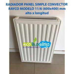 RADIADOR PANEL SIMPLE CONVECTOR RAYCO MODELO 11:6 (600x400) mm ecobioebro